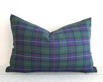 Blue Green Cabin Pillows, Blue Plaid Pillow Covers, Plaid Lumbar Pillow, Navy Blue, Hunter Green, Red White Plaid Pillow, 12x18