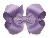 Pastel Purple Hair Bow, 4 inch Hair Bow, Dark Orchid Boutique Bow, Purple Hair Bow for Girls, No Slip Toddler Bow, Baby Girls, Dusky Purple