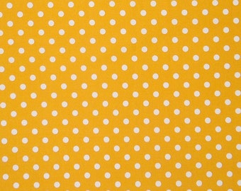 Yellow Polka Dot Fabric, Gold and White Polka Dot Cotton Fabric, Yellow Spotty Fabric