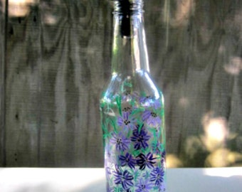 Dish Soap Dispenser,  Recycled Clear Beer Bottle, Painted Glass, Oil and Vinegar Bottle, Lace Looking Purple Flowers