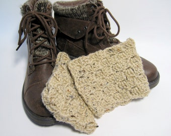 Tan Boot Cuffs, Beige Boot Cuffs, Tan Boot Toppers, Gift for Her, Crochet Boot Cuffs, Tan Crochet Boot Cuffs, Womens Boot Cuff, Winter, Fall