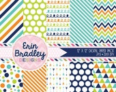 60% OFF SALE Commercial Use Digital Paper Pack Navy Blue Orange & Green Stripes Arrows Polka Dots Chevron Triangle Doodle Patterns