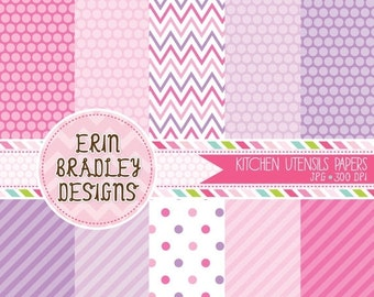 60% OFF SALE Digital Paper Set Personal and Commercial Use Pink and Purple Polka Dots and Stripes