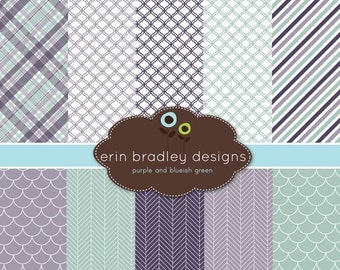 60% OFF SALE Digital Scrapbook Papers Personal and Commercial Use Purple and Blue Green Medley