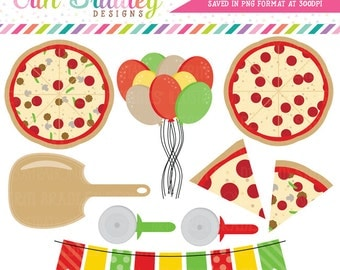 Pizza Party Clipart Commercial Use Clip Art Graphics Instant Download