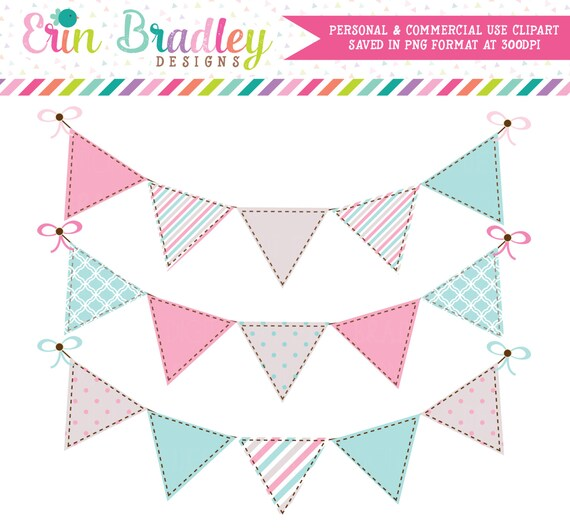 Digital Clipart Graphics Pink and Blue Bunting Flags Commercial Use Clip Art