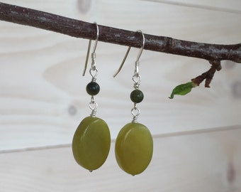 New Jade / Green Jade Dangle Earrings