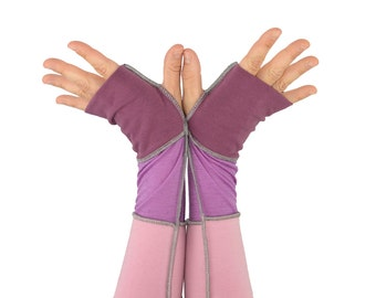 Arm Warmers in Winter Rose - Pale Pink, Rose Pink, and Mulled Wine - Segmented Sleeves - Fingerless Gloves