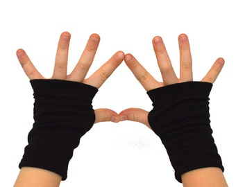 Toddler Kids Arm Warmers in Raven Black - Cotton Fingerless Gloves