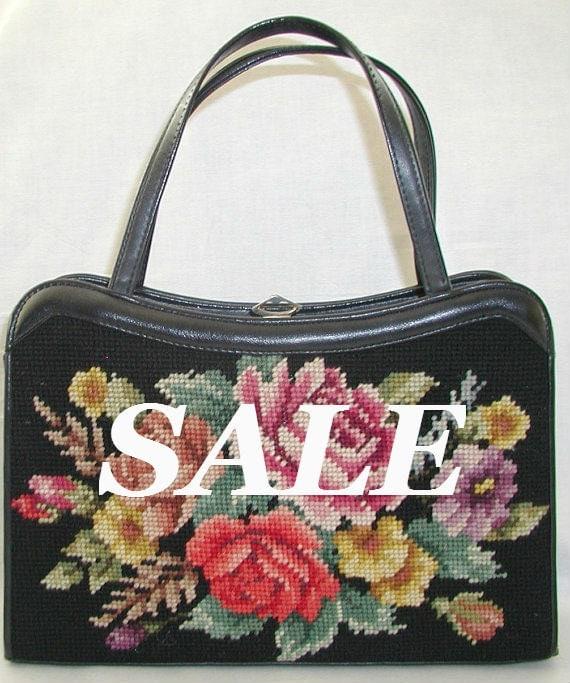 SALE ... Bee-U-TI-Ful  Vintage Floral Needlepoint Purse