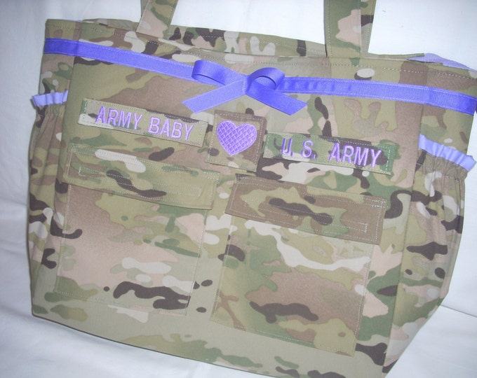 Multicam camo Diaper Bag Army personalized custom embroidery your choice of colors words you can request a custom order