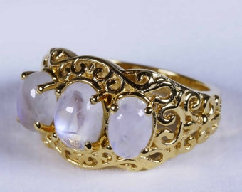 Sri Lankan Rainbow Moonstone  Ring in 14K YG Overlay Sterling Silver size 7  shipping included to U.S.A and Canada