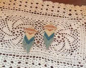 Handmade Bead Earrings Delicate Fringe Slate Blue, Ivory and Pumpkin