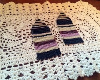 Handmade Bead Earrings Delicate Blunt Edge Fringe Purple Black Weaving