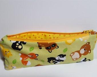 kid Pencil Pouch, forest animals print, children, soft profile, Zipper bag, art pouch, travel pouch