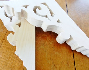 Handmade Wooden Brackets, Fretwork Brackets, Scroll Saw Brackets, Shelf Brackets, Unfinished Shelf Brackets