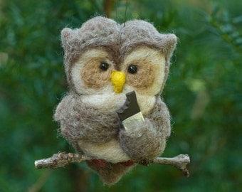 Needle Felted Owl- Eating Chocolate