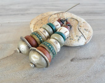 Long Tribal Earrings, The Cairn, Stacked Bead Earrings, Earthy, Rust and Verdigris, Handmade