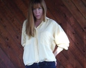 extra 30% off SALE ... Calvin Klein Silk Butter Yellow LS Button Down Shirt - Vintage 90s - LARGE L