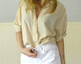 30% off ... 80s Semi Sheer Peach Woven Blouse Shirt Top - MEDIUM LARGE M L