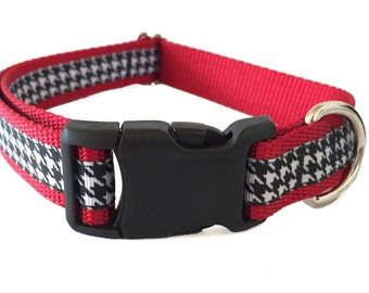 """Houndstooth Large Dog Collar 1"""" Martingale Leash or Harness"""