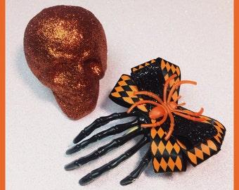 Skeleton Hand Hair Clip Halloween Hair Clip Orange Rockabilly Clip Psychobilly Bow Skeleton Hair Clip creepy cute Zombie hand Spider Bow