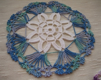 Hand crochet, fabulous  coaster doilies, set of 2, shaded blue , new, ready to mail