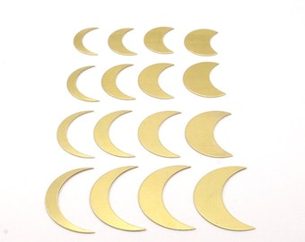 Crescent Moon Series, 16 Raw Brass Different Crescent Moon Blanks Moon 17
