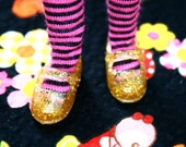 Licca Blythe Gold glittery Flat Mary Jane Doll shoes