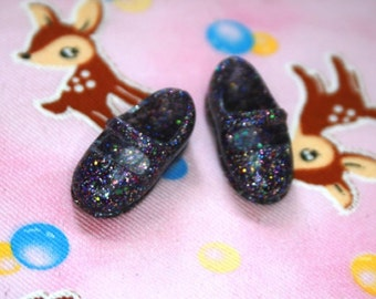 Licca Blythe Purple/ Black with glitter Flat Mary Jane Doll shoes