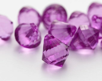 Acrylic Purple Faceted Pendant Drop Beads 16mm (16)