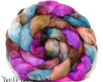 VIOLET STARS - Mohair Nylon Merino Blend Roving Wool Combed Top Spinning or Felting - 4.1 oz