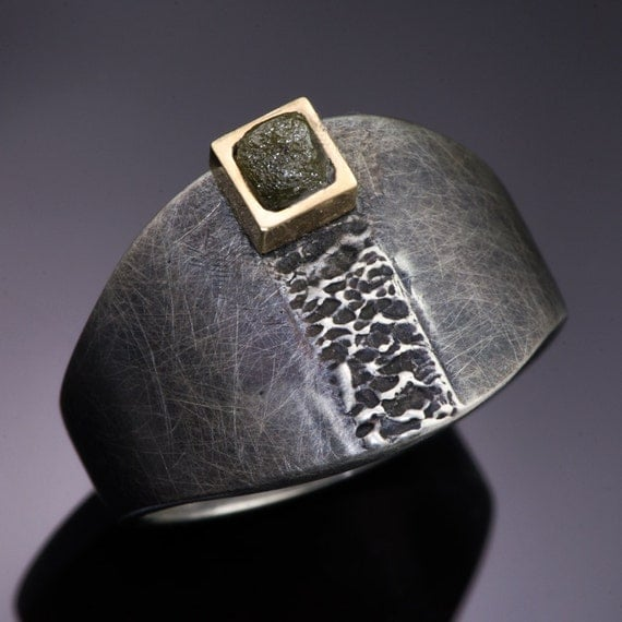 Rough Diamond 14k Yellow Gold Square Bezel Sterling Silver Ring -  Textured Raw Diamond Cube Amor Ring
