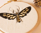 Tiger-Striped Clearwing Tiger Wasp Moth Hoop Embroidery Textile Art Entomology Insect Embroidery Wildlife Woodland Nature Lover Home Decor