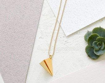 Long Paper Plane Necklace, Japanese Inspired, Origami Jewelry, Golden, Gold, Pendant Necklace, Long Neckles, Plane Pendant