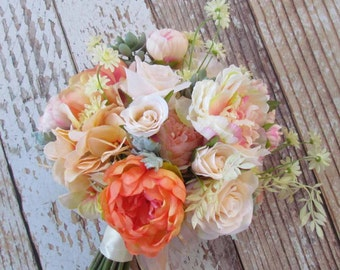 Peony Bridal Bouquet in Peachs & Ivory for your Wedding, Ready to Ship