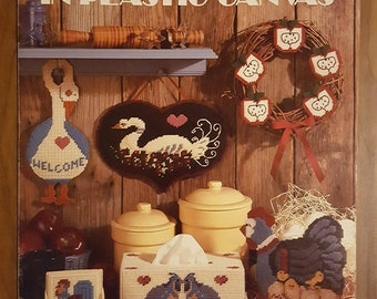 Plastic Canvas Country Patterns - Leisure Arts 1100 - Quail, Roosters, Geese, Coasters and More - © 1987
