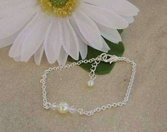 Bridal Bracelet Pearl Rhinestone Bridesmaids, Love Me Do