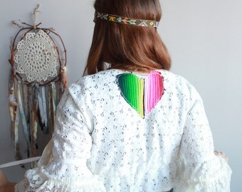 Bell Sleeve Lace Crochet Serape Heart Patch Cropped Hippie Bohemian Cardigan Sweater Festival Kimono Eco Friendly Women Small