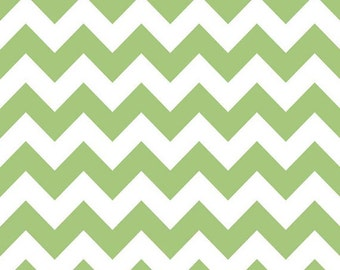 Riley Blake, Medium Chevron, Green and White, fabric by the yard