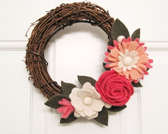 Girl's Room Decor Pink Felt Flowers Wreath Floral Spring Decoration Baby Room Decor Nursery Decoration Baby Shower Gift for Baby 977