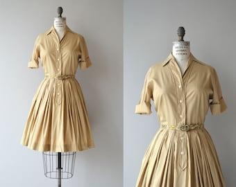 Dijon cotton shirtwaist | vintage 1950s dress | cotton 50s shirtdress