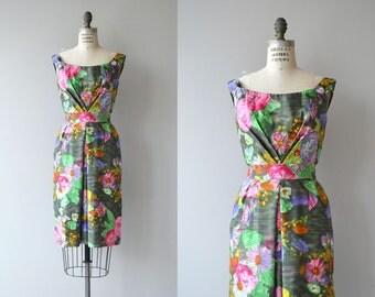 Ceil Chapman dress | floral print 1950s dress | 50s floral wiggle dress