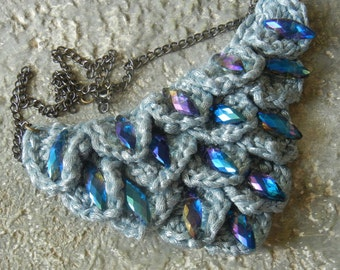 Crocheted Dragon Scale Bib Necklace