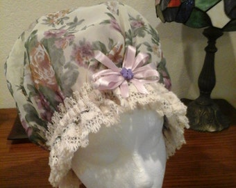 Fancy Shower Cap, with Beige Cotton Trim Fits EX Large and Large, Durable and Washable