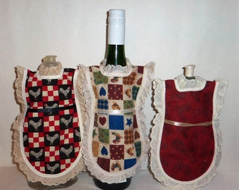 Wine Bottle Cover, Dish Soap, Detergent Apron, Country Chickens, Roosters, Eyelet Lace, Farmhouse, Kitchen Decor