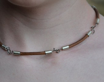 Dark leather and Sterling Silver necklace could be worn as bracelet