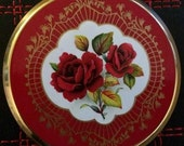 Vintage  Stratton Enamelled Compact Made in England  Red Rose Design Boxed