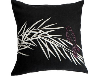 Bird on Bamboo Decorative Pillow Cover, Black Linen Silver Bamboo Embroidery,  Bird Throw Pillow Cover, Couch Pillow, Cushion Cover