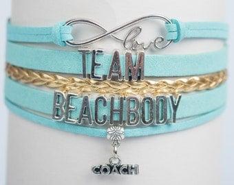 Team Beachbody Coach Handmade Infinity style Bracelet Gold Stripe